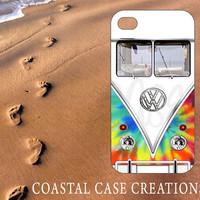 Apple iPhone 4 4G 4S 5G Hard Plastic or Rubber Cell Phone Case Cover Trendy Tie Dye VW Bus Design