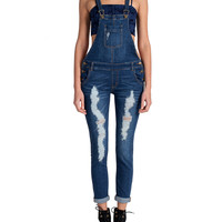 Thin Strap Ripped Overalls