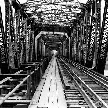 """Industrial Art Photography - iron railroad bridge perspective wall art """"The Other Side"""" / custom sizes and canvas wraps available 20% OFF"""