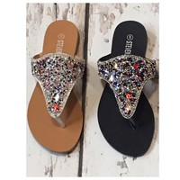 INSANITY CLOSEOUT! Jewel Studded Slip On Bling Sandals