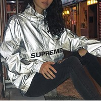 Supreme 17ss Reflective Half Zip Pullover 3m Full reflection submachine coat