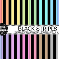 50% off SALE!! 16 Black Stripes Digital Paper • Rainbow Digital Paper • Commercial Use • Instant Download • #STRIPES-108-BP