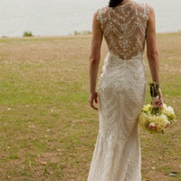 Custom Made Sleeveless Sexy Back Lace Wedding Dress,Sexy Mermaid Lace Bridal Gown,Lace Beach Wedding Gown
