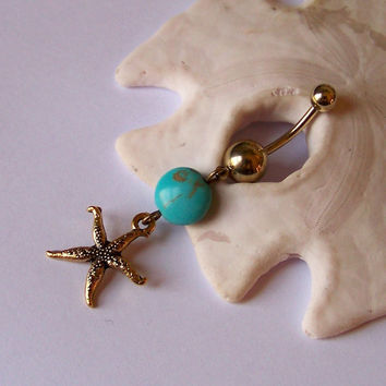 Gold Belly Button Ring - Piercing - Curved Barbell - Navel Piercing - Gold Starfish Charm with Magnesite Coin - READY to SHIP