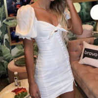 New French Niche Slim Knot Puff Sleeve White Dress