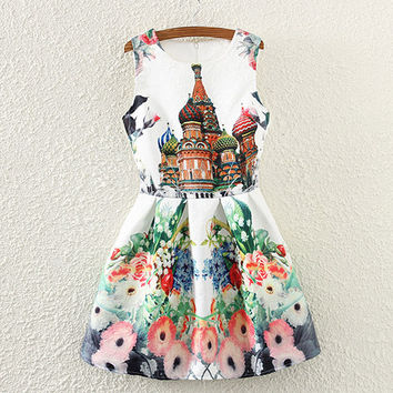 Mosques And Floral Print Sleeveless Pleated Dress