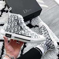Dior CD men's and women's embroidered denim high-top sneakers, plush inner increase, lace-up high-top shoes, hip-hop sneakers