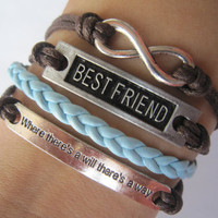 Combined Bracelet / Antiquied Silver Karma Bracelet, Best Friend, Where There Is A Will There Is A Way / Blue Braid and Brown Wax Cords