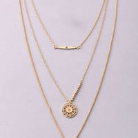 Bar, Compass, Spear Triple Chain Necklace - Gold
