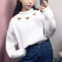HEART CUT OUT SWEATER