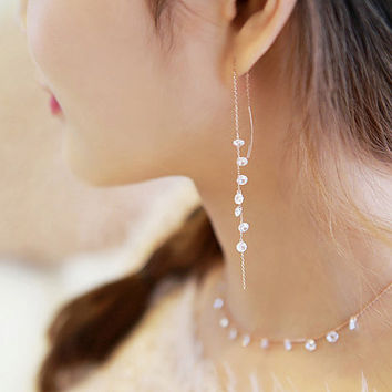 S925 Sterling Silver Threader Earrings, Delicate Chain Stick Earrings, Minimalist, Beaded Earrings, Edgy Jewelry, Gift for Mom YZ009