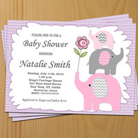 Girl Baby Shower Invitation Elephant Baby Shower Invitation Baby Girl Shower Invitation Baby Shower Invite Pink (02) - Free Thank You Card