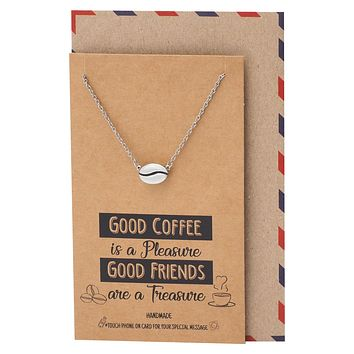 Geneva Coffee Bean Pendant Necklace, Gifts for Coffee Lover, with Inspirational Quote