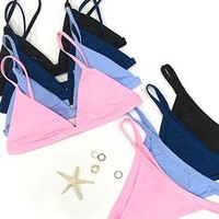 Cupshe View Over You Solid Color Bikini