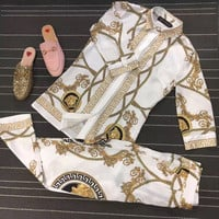 """Versace"" Fashion Retro Totem Print Middle Sleeve Shirt Casual Set Two-Piece"