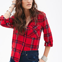 FOREVER 21 Plaid Button-Down Shirt Red/Blue
