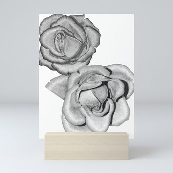 Grey Roses Mini Art Print by drawingsbylam