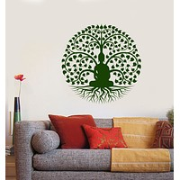 Vinyl Wall Decal Buddha Buddhism Bodhi Tree Stickers (3544ig)