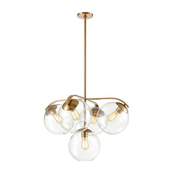 Collective 5-Light Chandelier in Satin Brass with Clear Glass