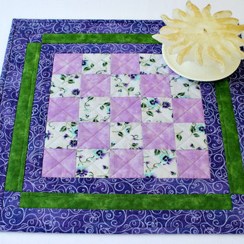Quilted Table Topper, Pansy Candle Mat, Purple Green Table Mat, Table Quilt, Quiltsy Handmade