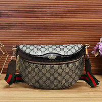 GUCCI Fashion Casual Women Leather Waist bag Shoulder Bag Crossbody