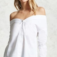 Off-the-Shoulder Button Shirt