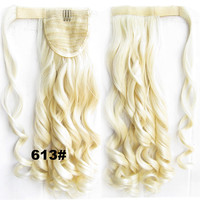 Ponytail Hair Extension Heat Proof Synthetic Wrap Around Invisable Long wavy Velcro Ponytail Hair Extension Clip In on Hair Pony Tail,Wig Hairpiece,woman wigs,wig hairs,Bath & Beauty,Accessories BIP-888 613#