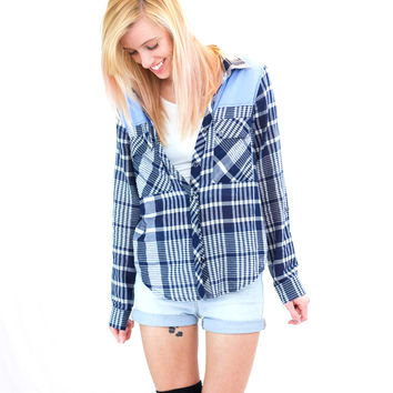 Skinny Love Chambray Accent Flannel (Final Sale)