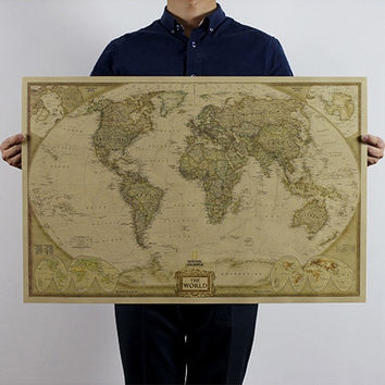 Vintage Style Retro Poster Log The World Map Scratch Map Giant the Atlas = 1946656516