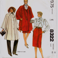 """Vintage 1980s Halston Poncho, Blouse, Skirt, Pants Sewing Pattern, McCall's 8322, Misses' Size 18 Bust 40"""" (102cm), Free US Shipping"""