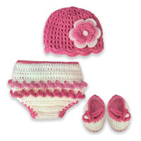 So'dorable 3-Piece Crochet Set in Pink/White