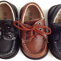 Toddler Baby Little Boys MODIT GTR501 Black Brown Navy Blue Lace Up White stitch Crew Rubber Bottom Shoes