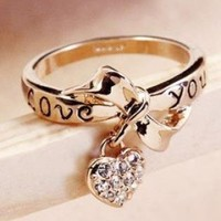 Bowknot Ring With Crystal Heart