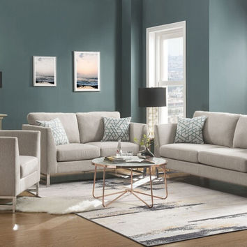 Acme 54550-51 2 pc Varali beige linen sofa and love seat set