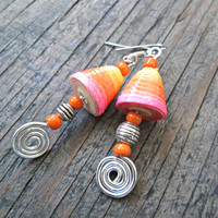 Neon Pink Paper earrings - Upcycled, Recycled, Repurposed - Paper bead jewelry -  Boho earrings - Hippie Gypsy - Colorful earrings