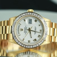 Rolex Mens Day-Date 18238 18K Gold White Roman Numeral Dial Diamond Bezel