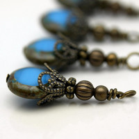 Vintage Style Brass and Czech Coin Blue Turquoise Tortoise Edge Bead Dangle Charm Drop Set - 4 Piece