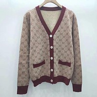 GUCCI Women Fashion Button Long Sleeve Knit Cardigan Jacket Coat