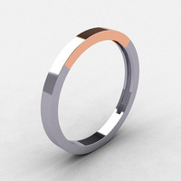 Modern 18K Two Tone Rose and White Gold Wedding Band by artmasters