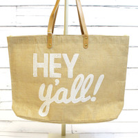 Hey Y'all Sequin Juco Tote