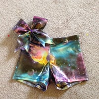 Galaxy spandex shorts and bow