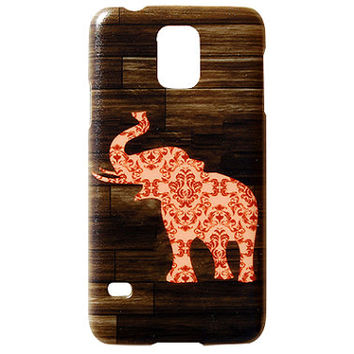 New Wooden Print Elephant Orange Damask Design Cute Phone Cases for Samsung Galaxy S4 S5 Thin Back Cover Patterned Print Chic Trendy  c295