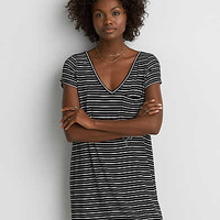AEO Striped Cross-Back Dress, Gray