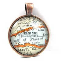 Helsinki, Finland, Pendant from Vintage Map, in Glass Tile Circle
