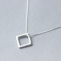 925 Sterling Silver Simple Square Necklace + Nice Gift Box