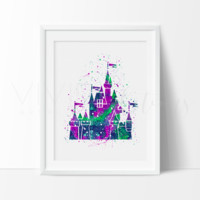 Princess Castle 2 Watercolor Art Print