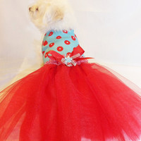 RockinDogs Retro Red and Turquoise Polkadot Tutu Harness Dress with Swarovski Crystals