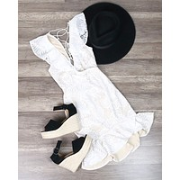 Glamorous Lace Overlay Dress in White