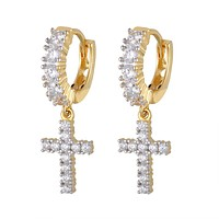 One Row Cross Dangling Hoops 14k Gold Tone 925 Silver Earrings