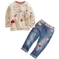 2pcs kids baby Girls Tops + Jeans Denim Pants Set Outfits Chidlren Spring Autumn Clothing Set